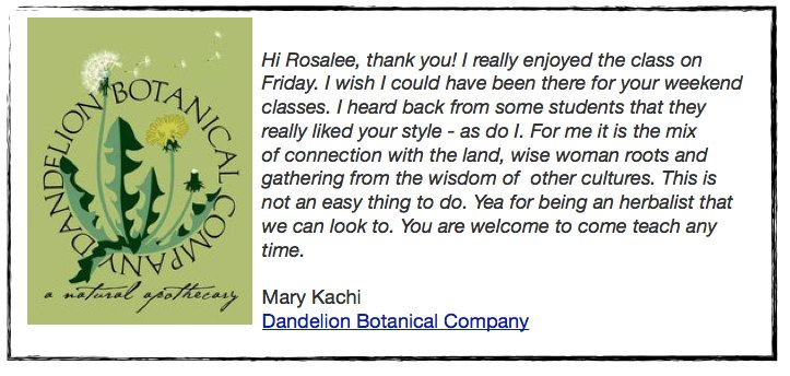Testimonial from Dandelion Botanical